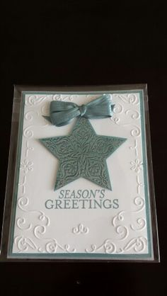 Stampin up holiday card;  all is bright bundle,  Christmas cheer embossing folder,  double fork bow