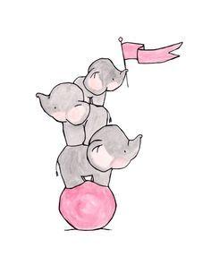 Rosa de lejos volar--Vivero arte, arte de pared infantil, guardería del niño…