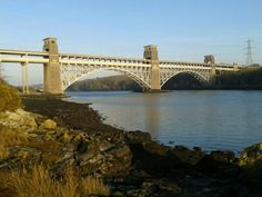 Brittania Bridge crossing the Menai Straits