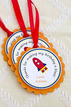 Rocket Birthday Party Favor Tags by LittlePeanutEvents on Etsy, $10.00