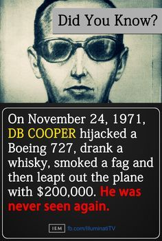 Except Richard McCoy did the exact same stunt 4 months later.is the spitting image of what Cooper looked like! D B Cooper, Things To Know, Did You Know, How Little We Know, American Crime, American History, Ripley Believe It Or Not, Criminology, True Crime