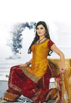 Mustard Chanderi Silk Readymade Salwar Suit Online Shopping: SLKCR4501