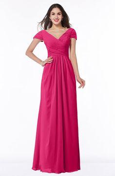 Fuschia Glamorous A-line Short Sleeve Floor Length Ruching Plus Size Bridesmaid Dresses