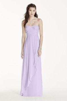 NEW Strapless Crinkle Chiffon Dress Cascade Skirt David's Bridal Violetta SZ 2 Clothing, Shoes & Accessories:Women's Clothing:Dresses #nike #jordan #ebay $150.00