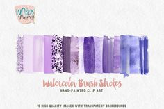 15 watercolor brush strokes in a lilac, lavender, purple, pink glitter palette.  This clipart collection will be archived in a ZIP file and available for instant download after purchasing. No physical items will be shipped. These elements look best on lighter or dark backgrounds. These are perfect for every projects: • Art prints • Logo • Packaging • Stationery • Merchandise • Poster • Website and Social Media Banner • Book cover • Invitations • and more!  What you get: -15 separate brush…