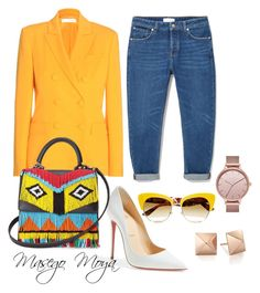 """Yellow it is  MM Creations"" by masego-moya on Polyvore featuring MANGO, Altuzarra, Christian Louboutin, Les Petits Joueurs, Skagen and Dolce&Gabbana"