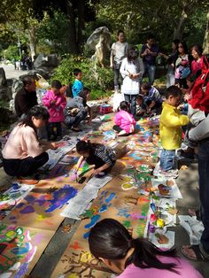 Children painting in Fuxing Park, Shanghai, China