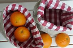 Items similar to Set of 2 - Eco friendly reversible baskets: RED check natural LINEN , picnic baskets, fabric organizers, fruit basket, bread basket on Etsy