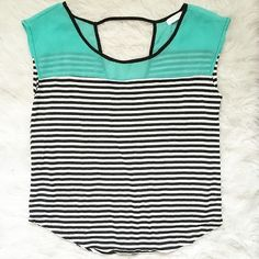 Striped Tee with Cut Out Back Sheer mint green chiffon fabric at the top. Striped t-shirt material throughout the body. Keyhole cut out in the back. Tops
