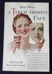 1933 Vintage Print Ad Coca-Cola Coke Smiling Woman Holding Up Mask of Sad Face FREE SHIPPING