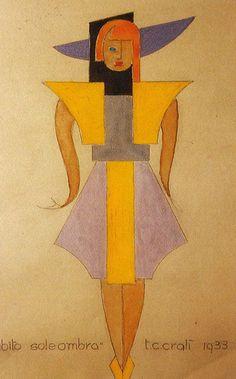 Tullio Crali uno dei più importanti artisti futuristi. disegna bozzetti di abiti sia da uomo che da donna