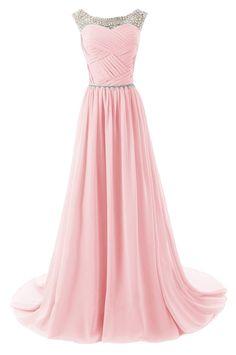pink long chiffon dress