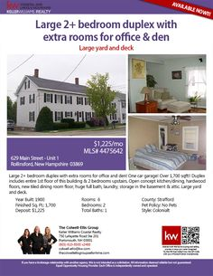 629 Main Street Unit# 1 Rollinsford, NH 03869  || 2BR/1BA || $1,225/mo || Colonial || Large 2+ bedroom duplex with extra rooms for office & den! One car garage! Over 1,700 sqft!! Duplex includes entire 1st floor of this building & 2 bedrooms upstairs. Open concept kitchen/dining, hardwood floors, new tiled dining room floor, huge full bath, laundry, storage in the basement & attic. Large yard and deck. || The Colwell-Ellis Group KW Coastal Realty (603) 610-8500 x2488