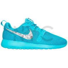 Nike Roshe Run Breathe Shoes Gamma Blue Customized With Swarovski... ($155) ❤ liked on Polyvore featuring shoes, athletic shoes, light blue, sneakers & athletic shoes, tie sneakers, women's shoes, light blue shoes, swarovski crystal shoes, blue shoes and rhinestone shoes