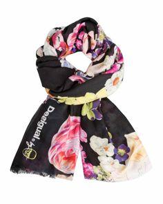 61W5LA0_2000 Desigual Lacroix Scarf Black Flower Soft Buy Online