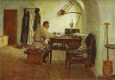 'Leo Tolstoi in zijn studeerkamer', 1891 / Ilja Repin (1844-1930) / Letterkundig Staatsmuseum, Moskou, Rusland.
