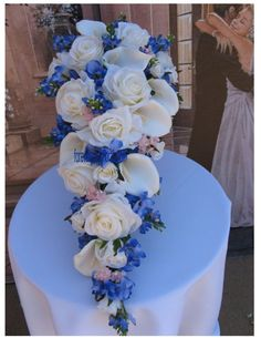 Silk Texas Bluebonnet Bridal Bouquets 13 Piece by BridalBouquets....with Sunflowers instead of white roses