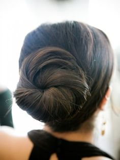 Classic pretty bun. Easy, simple, and elegant hair style.