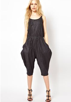 Dark Blue-Black Plain Seven 's Cotton Jumpsuit Pants