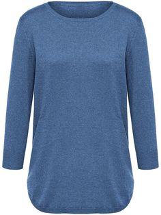 Peter Hahn - Rundhals-Pullover mit 3/4-Arm - Jeansblau-Melange Pullover, Jeans, Knitwear, Jumper, Cashmere, Arm, Sleeves, Sweaters, Cuffs