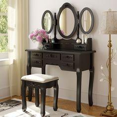 Tribesigns Wood Makeup Vanity Table Set with 3 Mirror & Stool Bedroom Dressing Table Makeup Desk, Black Mirror Stool, Vanity Table Vintage, Vanity Table Set, Wood Vanity, Dressing Table Set, Vanity Table, Table, White Wood Vanity, Vanity Set