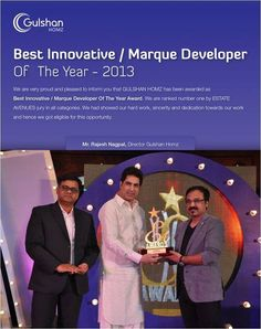 Gulshan Homz has been recognised as Best Innovative / Marque Developer of the Year by Estate Avenues