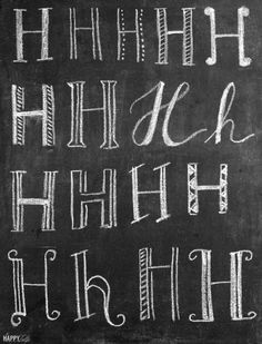 A Complete Amateur's Guide to Chalk Lettering — tips, ideas, and techniques │ thehappytulip Chalkboard Fonts, Chalkboard Designs, Chalkboard Ideas, Chalkboard Drawings, Chalkboard Walls, Kitchen Chalkboard Quotes, Chalkboard Art Tutorial, Chalkboard Lettering Alphabet, Chalkboard Border
