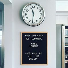 The Coolest Customizable Art: Felt Letter Boards and Black Light Boxes, plus where to buy them. (Life Lemonades Felt Letterboard Sign in the Kitchen) - This would be so cute to change up for a party!