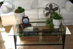 Furniture:Square Glass Coffee Table Decorating Idea With Shabby Chic Natural Centerpiece Idea How to Manage Coffee Table Centerpieces to Look Great