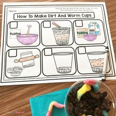 Literacy Snack Idea Worms + Free Printable - Primary Playground, dirt and worms snack free printable Printable Preschool Worksheets, Sequencing Activities, Hands On Activities, Free Printables, Classroom Activities, Preschool Snacks, Free Preschool, Kindergarten Writing, Literacy