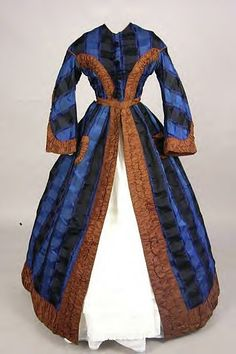 Blue silk trimmed in brown wrapper civil war era fashion Love the blue plaid fabric