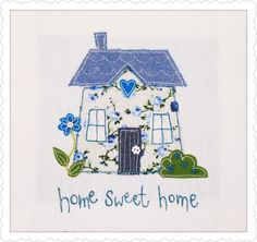 Appliqué cushion by The Apple Cottage Company - I am going to cross stitch this Freehand Machine Embroidery, Free Motion Embroidery, Free Machine Embroidery, Embroidery Applique, Embroidery Stitches, Sewing Appliques, Applique Patterns, Applique Designs, Embroidery Designs