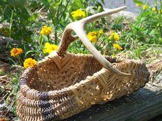 Items similar to Antler Basket on Etsy Deer Antler Crafts, Antler Art, Deer Antlers, Bountiful Baskets, Basket Bag, Emergency Preparedness, Basket Weaving, Wicker Baskets, Rustic Decor
