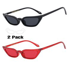 f4ff07cb42 WOWSUN Vintage Sex Cat Eye Sunglasses Candy Color Clout Goggles for Women  (Black-Red)