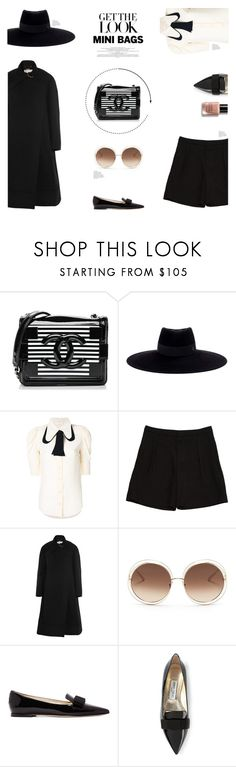 """""""MY MINI BAG"""" by canvas-moods ❤ liked on Polyvore featuring Chanel, Maison Michel, Chloé, Jimmy Choo, Bobbi Brown Cosmetics, StreetStyle, black, trend, minibags and fall2017"""
