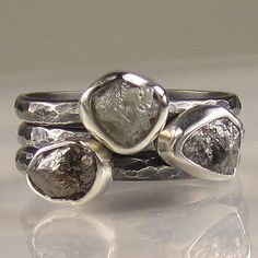 ummm..hand made rough diamond rings... yes please!!!  Rough Diamond Ring Set  Made to Order by artifactum on Etsy, $299.00