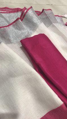 Latest Pure Plain Lenin/Linen Sarees with contrast blouse Organza Saree, Cotton Saree, Sari Blouse Designs, Blouse Patterns, Plain Saree, Elegant Fashion Wear, Saree Trends, Elegant Saree, Work Sarees