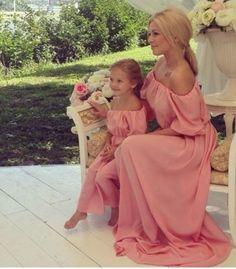 robe, rose, mère, fille