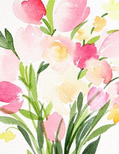 10 x 14 Bouquet of Small Tulips Watercolor by YaoChengDesign