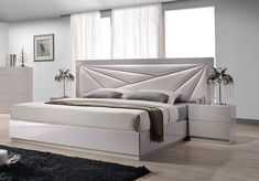 Contemporary platform bed with long leather headboard sides. If you re looking for a sleek and luxury look for your bedroom, look no further than the five pieces bedroom set. This bed offers great value for your money with its rich finish, durable and eco-friendly construction, quality leatherette u...