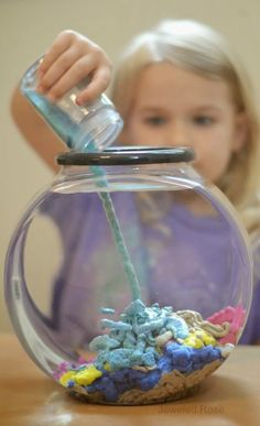 Make your own aqua sand- this stuff is SO COOL! The sand is waterproof and reacts to liquid in such a unique way, allowing kids to build amazing underwater castles and sculptures. (Two Ingredients Playdough) Craft Activities For Kids, Science For Kids, Toddler Activities, Projects For Kids, Toddler Preschool, Stem Preschool, Science Week, Science Kits, Science Fair