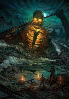 Death at sea fantasy art Dark Fantasy Art, Fantasy Artwork, Dark Art, Fantasy Monster, Monster Art, Arte Horror, Horror Art, Fantasy Creatures, Mythical Creatures