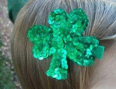Sparkle Shamrock Hair Clips