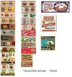 vintage can food labels