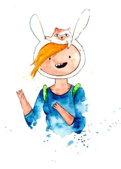 Fionna and Cake together Mini Print 5x7 inch inch inkjet print / Adventure Time Fan Art. $6.00, via Etsy.
