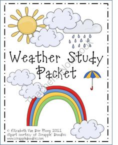 Cloud, Weather, and Water Cycle Study Pack from elizabethvdp617 on TeachersNotebook.com (10 pages) - Activities and printables related to the study of weather, clouds, and the water cycle. Appropriate for students in grades 1-4.