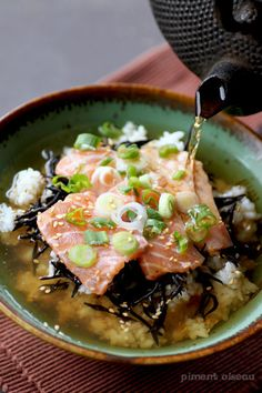 Salmon Chazuke; (a dish of rice with green tea poured over, topped with salmon) stylish japanese food