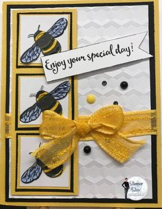 Bees are the bomb and these particular cuties just make me want to smile. I saw this posted on Pinterest by Kristi Gray and just had to make one..or 10! Give it a try! Card Recipe: Paper: Crushed Curry 8 1/2 x 5 1/2, scored at 4 1/4, 1