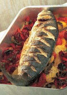 Baked Sea Bass with Roasted Red Peppers, Tomatoes, Anchovies and Potatoes - The Happy Foodie