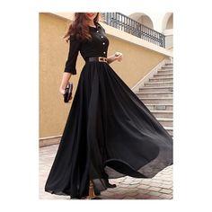 Black Turndown Collar Slit Design Maxi Dress ($35) ❤ liked on Polyvore featuring dresses, black, print maxi dress, sleeved maxi dress, three quarter sleeve maxi dress, chiffon sleeve dress and sleeved dresses
